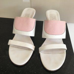 White Leather with Pink, 8.5cm Wedge Heels